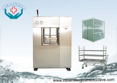 China Electric Vertical Lift Double Door Autoclave With Easy Access Loading Trolleys distributor